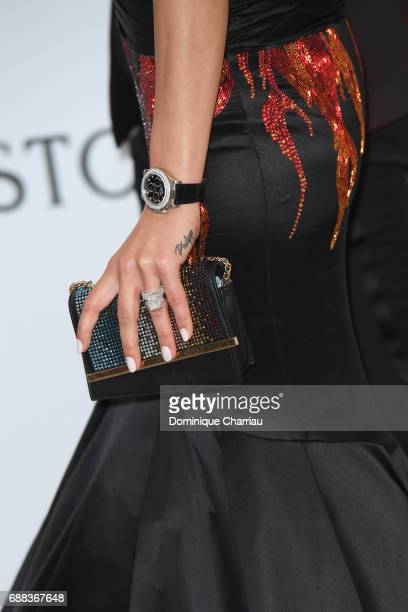 Andreea Sasu fashion detail arrives at the amfAR Gala Cannes 2017 at Hotel du CapEdenRoc on May 25 2017 in Cap d'Antibes France