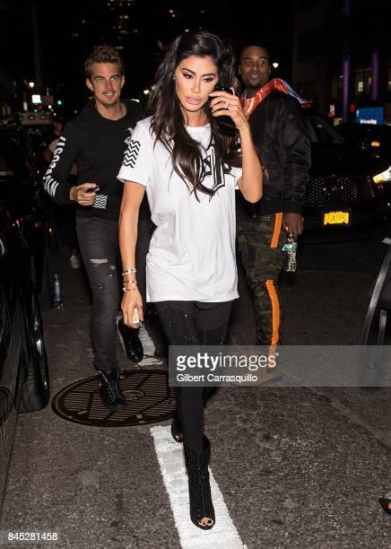 Andreea Sasu is seen arriving at the Philipp Plein fashion show during New York Fashion Week The Shows at Hammerstein Ballroom on September 9 2017 in...