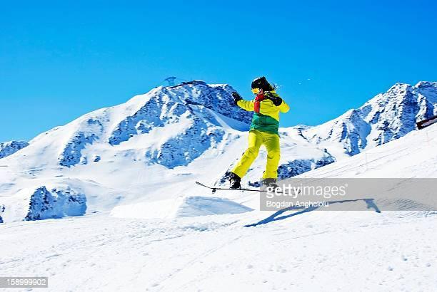 Andreea's snowboard jump