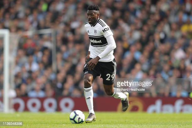 AndreFrank Zambo Anguissa of Fulham in action during the Premier League match between Fulham FC and Manchester City at Craven Cottage on March 30...