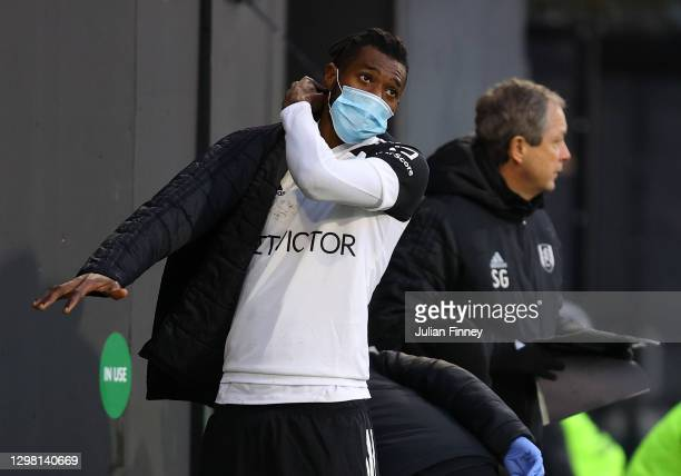 Andre-Frank Zambo Anguissa of Fulham looks on after he is substituted during The Emirates FA Cup Fourth Round match between Fulham and Burnley at...