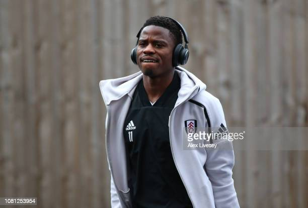 AndreFrank Zambo Anguissa of Fulham looks on prior to the Premier League match between Burnley FC and Fulham FC at Turf Moor on January 12 2019 in...