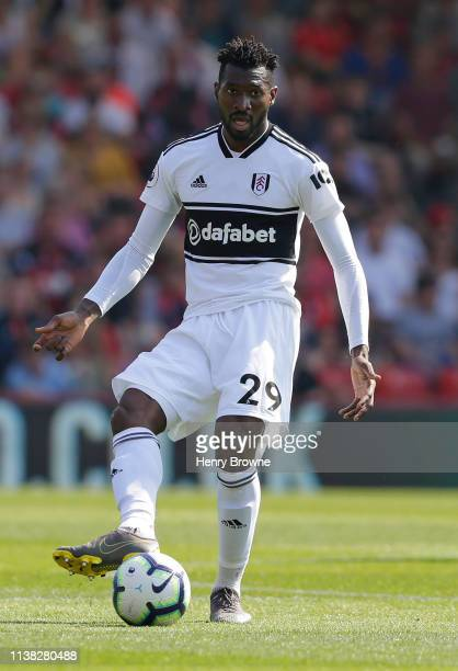 AndreFrank Zambo Anguissa of Fulham passes the ball during the Premier League match between AFC Bournemouth and Fulham FC at Vitality Stadium on...