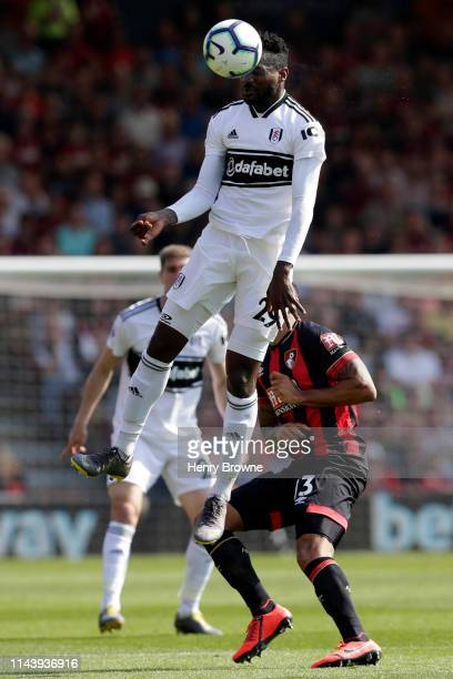 AndreFrank Zambo Anguissa of Fulham wins a header during the Premier League match between AFC Bournemouth and Fulham FC at Vitality Stadium on April...