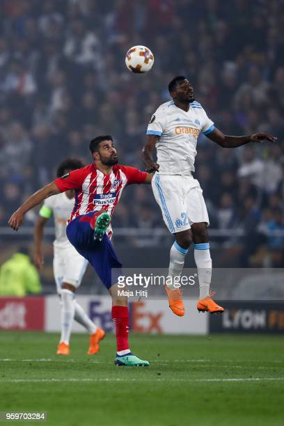 AndreFrank Zambo Anguissa of Marseille and Diego Costa of Atletico Madrid battle for the ball during the UEFA Europa League Final between Olympique...