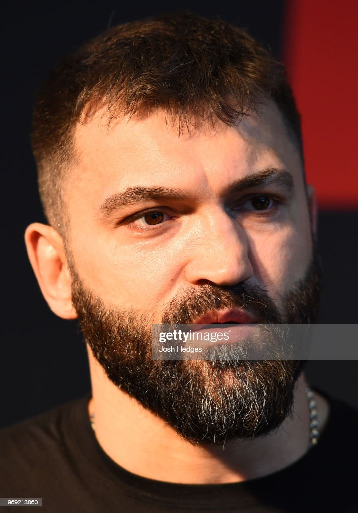 Andrei Arlovski of Belarus interacts with media during the UFC 225 Ultimate Media Day at the United Center on June 7, 2018 in Chicago, Illinois.
