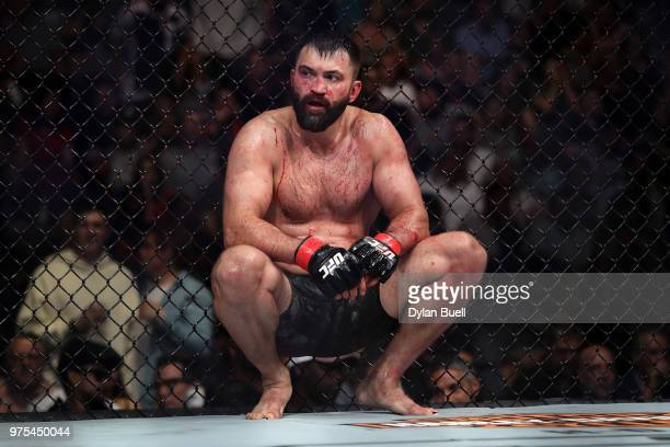 Andrei Arlovski of Belarus rests after his heavyweight bout against Tai Tuivasa of Australia during the UFC 225 Whittaker v Romero 2 event at the...