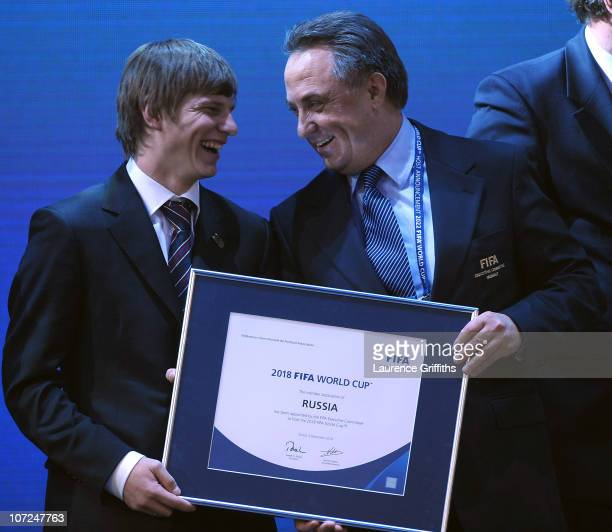 Andrei Arshavin and Minister of Sports, Tourism and Youth Policy Vitaly Mutko celebrate winnning the bid to host 2018 during the FIFA World Cup 2018...