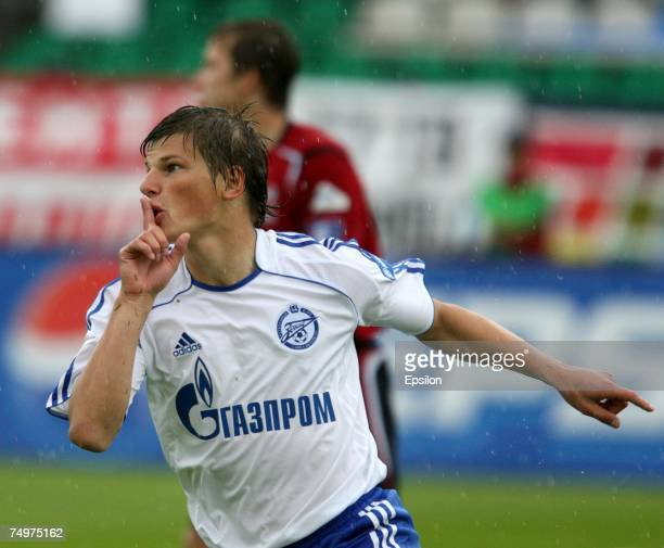 Andrei Arshavin celebrates after scoring the first goal for FC Zenit during the Russian Premier League Championship match between FC Moscow and FC...