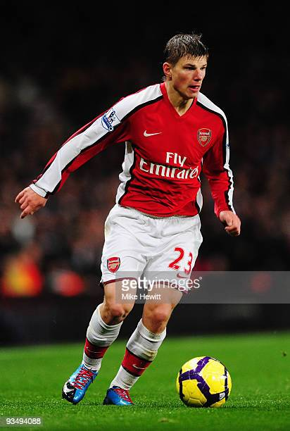 Andrei Arshavin of Arsenal in action during the Barclays Premier League match between Arsenal and Chelsea at the Emirates Stadium on November 29,...