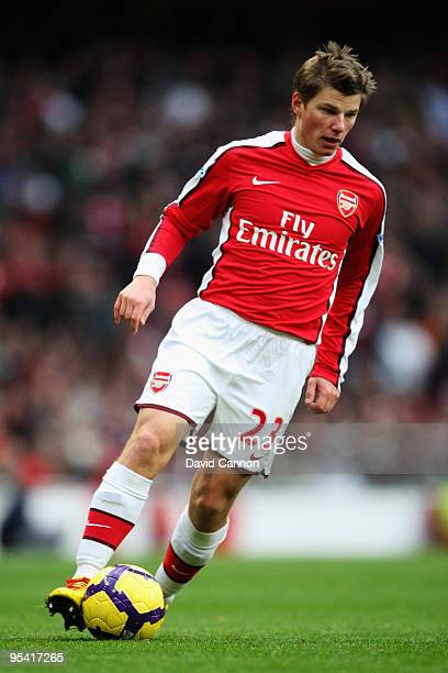 Andrei Arshavin of Arsenal in action during the Barclays Premier League match between Arsenal and Aston Villa at the Emirates Stadium on December 27,...