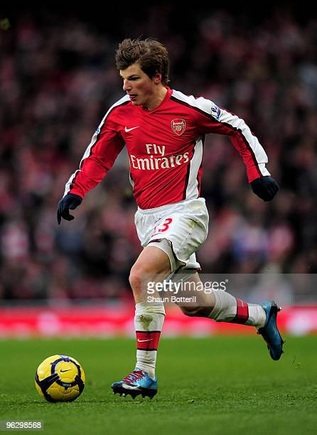 Andrei Arshavin of Arsenal runs with the ball during the Barclays Premier League match between Arsenal and Manchester United at The Emirates Stadium...