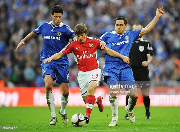 Andrei Arshavin of Arsenal takes on Frank Lampard and Michael Ballack of Chelsea during the FA Cup sponsored by EON Semi Final match between Arsenal...