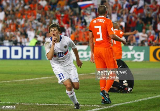 Andrei Arshavin of Russia celebrates scoring his teams third goal during the UEFA EURO 2008 Quarter Final match between Netherlands and Russia at St....