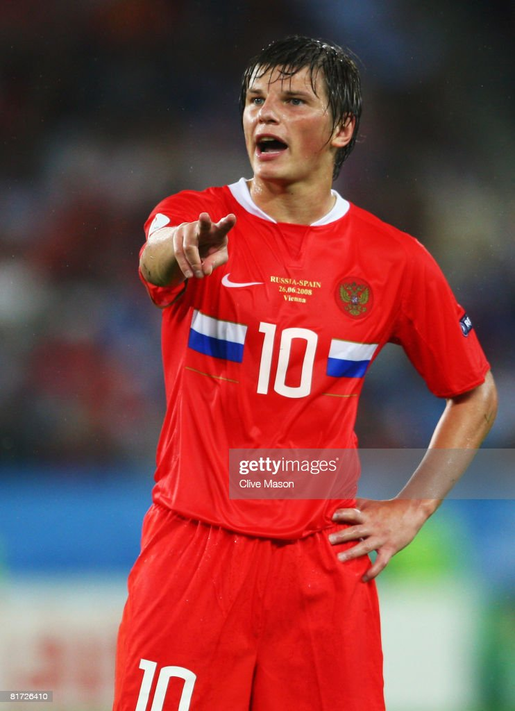 Andrei Arshavin of Russia during the UEFA EURO 2008 Semi Final match between Russia and Spain at Ernst Happel Stadion on June 26, 2008 in Vienna, Austria.