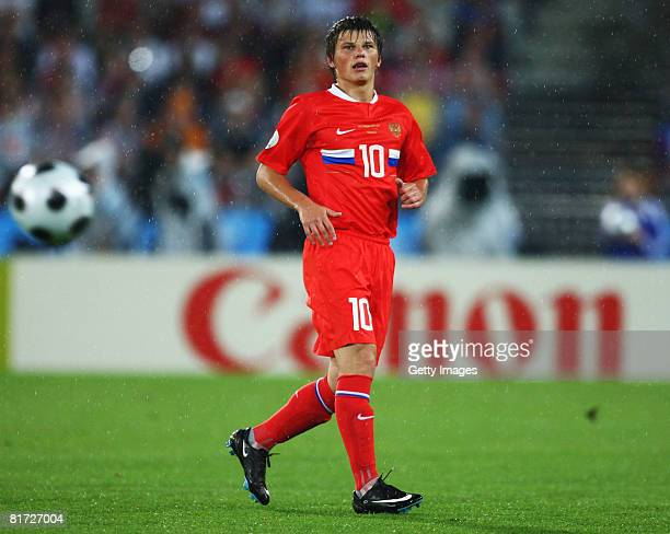 Andrei Arshavin of Russia in action during the UEFA EURO 2008 Semi Final match between Russia and Spain at Ernst Happel Stadion on June 26, 2008 in...