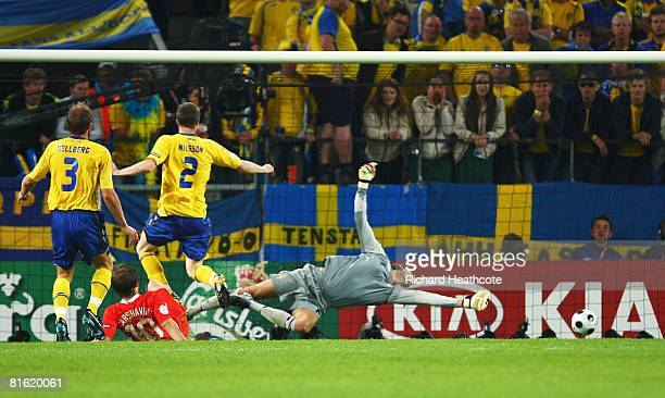 Andrei Arshavin of Russia scores his teams second goal during the UEFA EURO 2008 Group D match between Russia and Sweden at Stadion Tivoli Neu on...