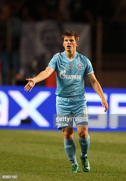 Andrei Arshavin of Zenit St.Petersburg reacts during the UEFA Super Cup between Manchester United and Zenit St.Petersburg at the Stade Louis II on...