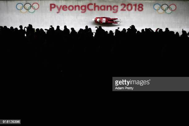 Andrei Bogdanov and Andrei Medvedev of Olympic Athlete from Russia make a run during the Luge Doubles on day five of the PyeongChang 2018 Winter...
