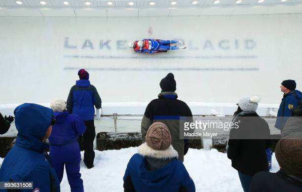 Andrei Bogdanov and Andrei Medvedev of Russia compete in thier first run in the Doubles competition of the Viessmann FIL Luge World Cup at Lake...