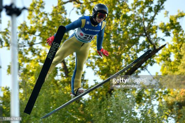Andrei Feldorean of Romania competes during the FIS Grand Prix Skijumping Hinzenbach at on February 6, 2021 in Eferding, Austria.
