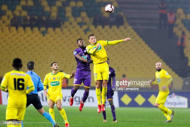Andrei Girotto of Nantes and Aaron Leya Iseka of Toulouse during the French Cup match between Nantes and Toulouse at Stade de la Beaujoire on...
