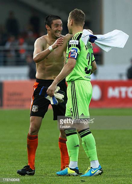 Andrei Gorbanets of FC Ural Sverdlovsk Oblast and Igor Akinfeev of PFC CSKA Moscow after the Russian Premier League match between CSKA Moscow and FC...