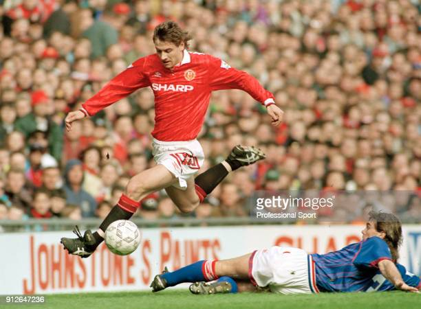 Andrei Kanchelskis of Manchester United in action during the FA Carling Premiership match between Manchester United and Oldham Athletic at Old...