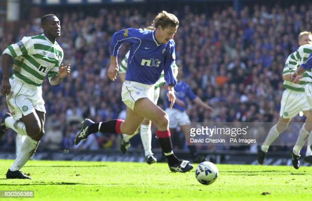 Andrei Kanchelskis scoring the second goal for Rangers against Celtic at the Old Firm football match at Ibrox in Glasgow