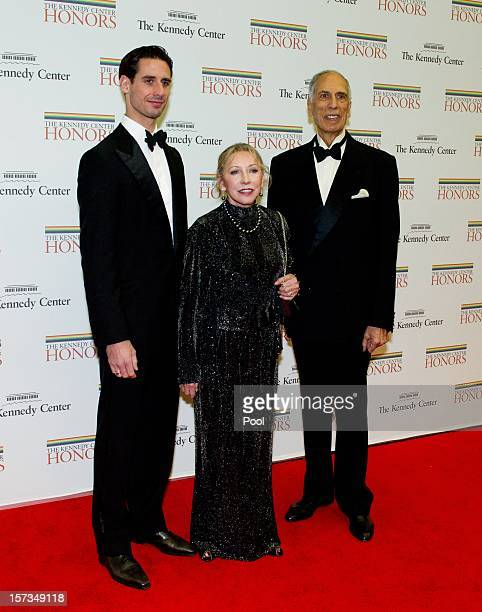 Andrei Karkar Natalia Makarova and Edward Karkar arrive for a dinner for Kennedy honorees hosted by US Secretary of State Hillary Rodham Clinton at...