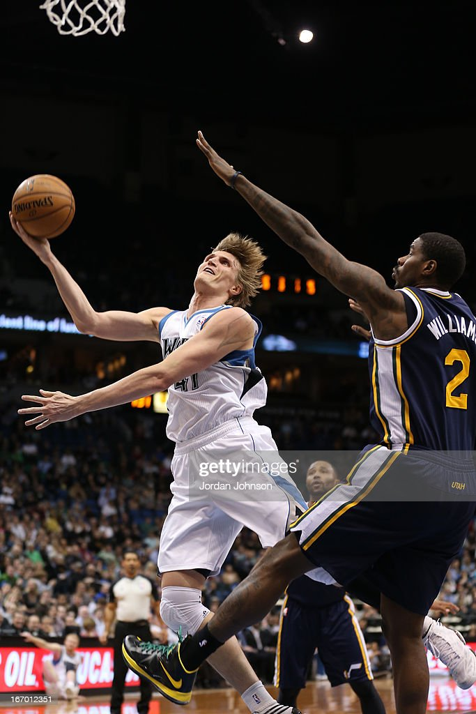 Andrei Kirilenko #47 of the Minnesota Timberwolves drives to the basket against the Utah Jazz on April 15, 2013 at Target Center in Minneapolis, Minnesota.