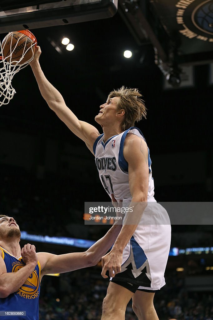 Andrei Kirilenko #47 of the Minnesota Timberwolves dunks the ball against the Golden State Warriors on February 24, 2013 at Target Center in Minneapolis, Minnesota.
