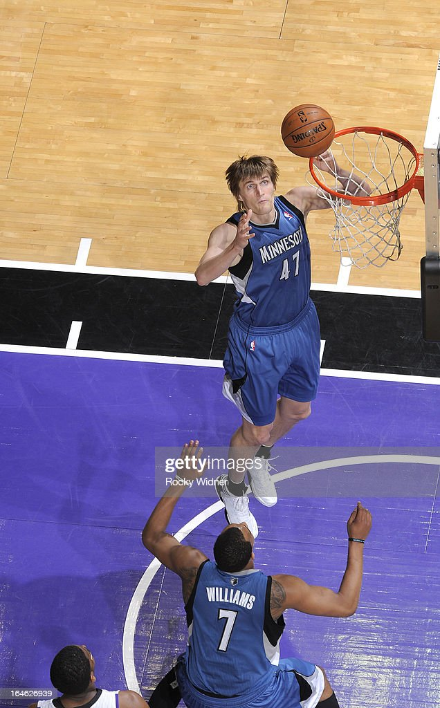 Andrei Kirilenko #47 of the Minnesota Timberwolves goes up for the rebound against the Sacramento Kings on March 21, 2013 at Sleep Train Arena in Sacramento, California.