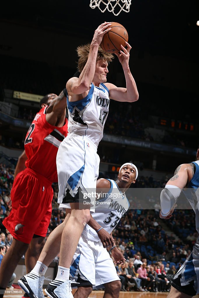 Andrei Kirilenko #47 of the Minnesota Timberwolves grabs a rebound against the Portland Trail Blazers on January 5, 2013 at Target Center in Minneapolis, Minnesota.