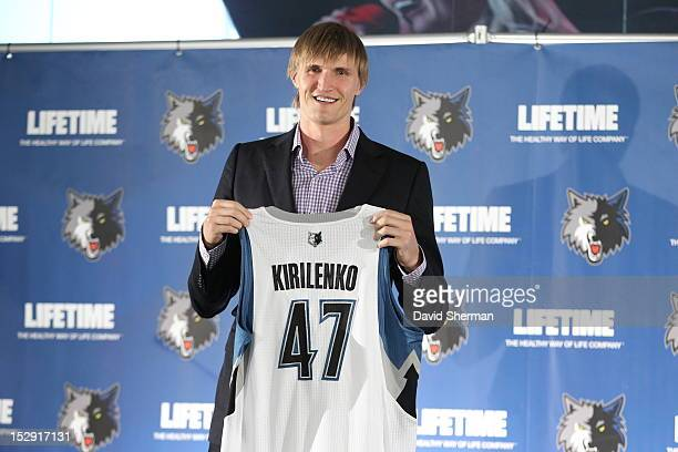 Andrei Kirilenko of the Minnesota Timberwolves is introduced to the media at a press conference on September 28 2012 at Target Center in Minneapolis...