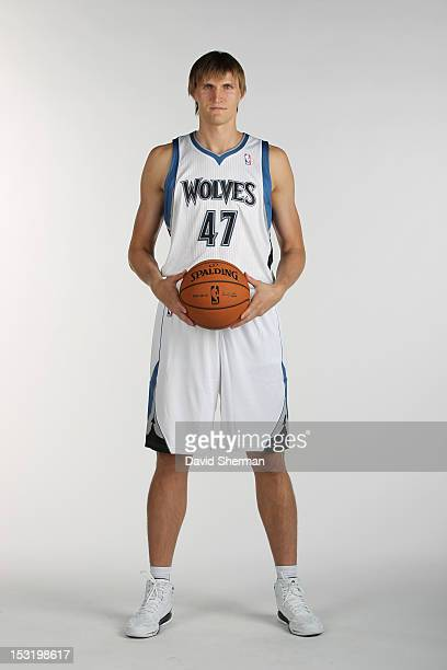 Andrei Kirilenko of the Minnesota Timberwolves poses for a portrait during 2012 NBA Media Day on October 1 2012 at Target Center in Minneapolis...