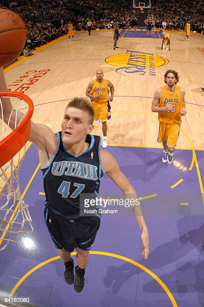 Andrei Kirilenko of the the Utah Jazz goes up for a dunk against the Los Angeles Lakers at Staples Center on January 2 2009 in Los Angeles California...