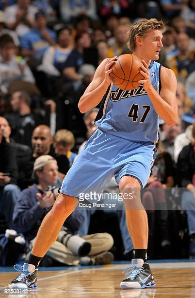 Andrei Kirilenko of the Utah Jazz controls the ball against the Denver Nuggets during NBA action at Pepsi Center on October 28 2009 in Denver...