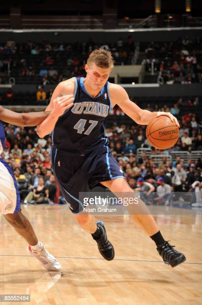 Andrei Kirilenko of the Utah Jazz dribbles with the ball against the Los Angeles Clippers at Staples Center on November 3 2008 in Los Angeles...