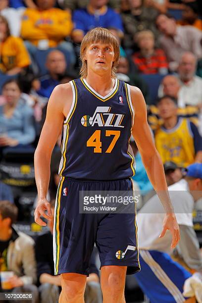 Andrei Kirilenko of the Utah Jazz gets ready to take on the Golden State Warriors on November 5 2010 at Oracle Arena in Oakland California NOTE TO...