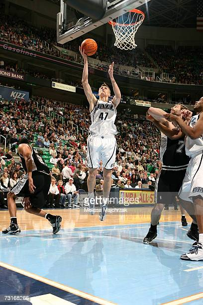 Andrei Kirilenko of the Utah Jazz goes up for the shot against the San Antonio Spurs on January 31, 2007 at the EnergySolutions Arena in Salt Lake...