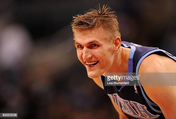 Andrei Kirilenko of the Utah Jazz looks on during the game against the Los Angeles Clippers at Staples Center on November 3 2008 in Los Angeles...