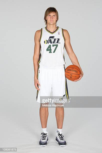 Andrei Kirilenko of the Utah Jazz poses for a portrait during NBA Media Day at the Zions Basketball Center on September 27 2010 in Salt Lake City...