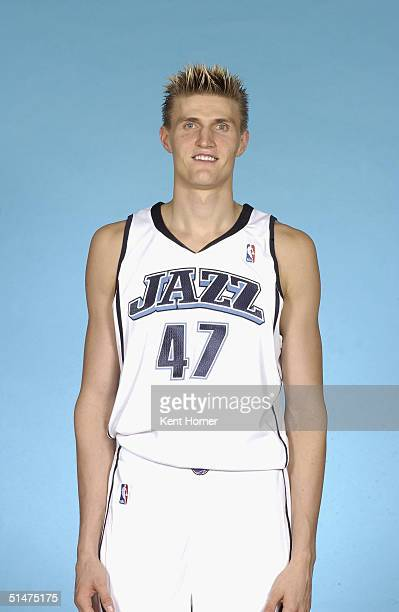 Andrei Kirilenko of the Utah Jazz poses for a portrait during NBA Media Day on October 4 2004 in Salt Lake City Utah NOTE TO USER User expressly...