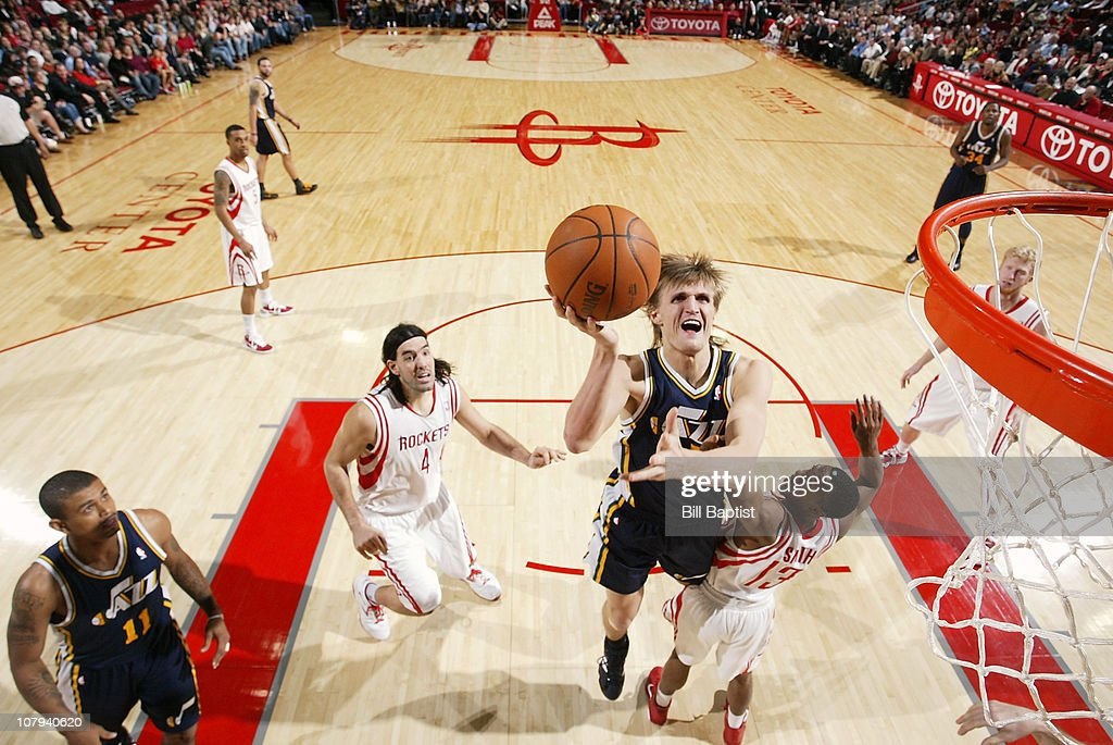 Andrei Kirilenko #47 of the Utah Jazz shoots the ball over Ishmael Smith #13 of the Houston Rockets on January 8, 2011 at the Toyota Center in Houston, Texas.