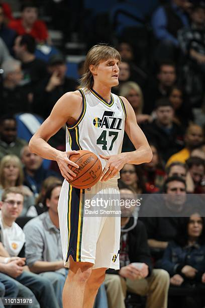 Andrei Kirilenko of the Utah Jazz stands on the court against the Minnesota Timberwolves during a game on March 11 2011 at the Target Center in...