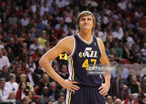 Andrei Kirilenko of the Utah Jazz waits during a foul shot during a game agsinst the Miami Heat at American Airlines Arena on November 9 2010 in...