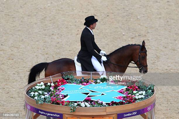 Andrei Korshunov of Russia riding Fabiy competes in the Individual Dressage Equestrian event on Day 1 of the London 2012 Olympic Games at Greenwich...