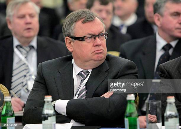 Andrei Kostin chief executive officer of VTB Group listens during the congress of Russian Union of Industrialists and Entrepreneurs in Moscow Russia...