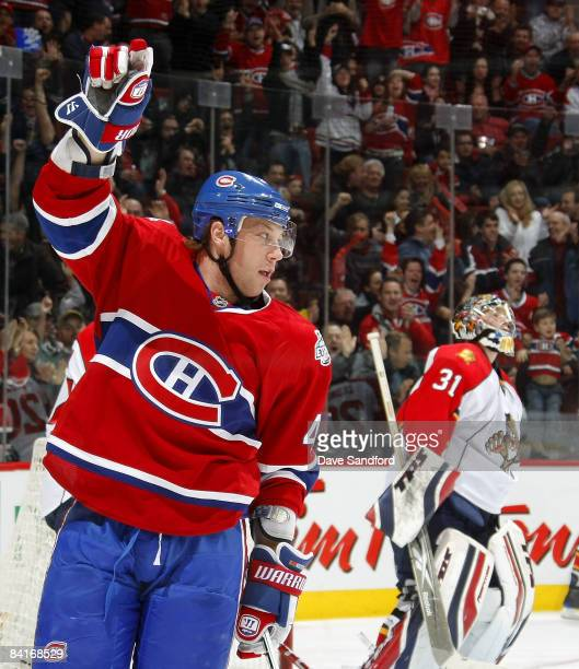 Andrei Kostitsyn of the Montreal Canadiens celebrates his 3rd period goal against the Florida Panthers during their NHL game at the Bell Centre...